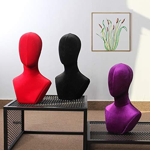 YOSAN Colori Multipli Velluto Tessuto Testa di manichino Professionale per Parrucche, Occhiali, Cappelli, Cuffie, espositore