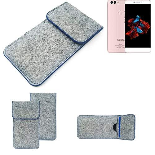 K-S-Trade Filz Schutz Hülle Für Bluboo Dual Schutzhülle Filztasche Pouch Tasche Hülle Sleeve Handyhülle Filzhülle Hellgrau, Blauer Rand