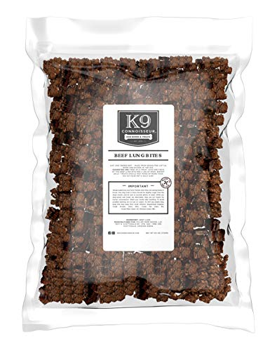 K9 Connoisseur Low to Odor Free Slow Roasted Beef Lung Bites for Dogs Made in USA Grain & Rawhide Free Natural Dog Treats for Large Dogs Aggressive Chewers Also The Best for Medium & Small Breed Dogs