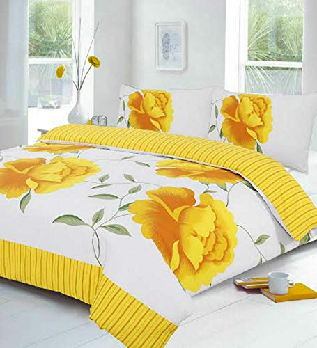 Night Zone Rosaleen (Yellow) Duvet/Quilt Cover With Pillow Cases Bedding Set Printed Or Curtains Attractive Flower Designs Sold By National textile Ltd (Super King Duvet Cover Set)