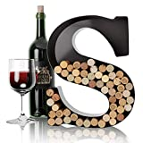 HouseVines S Weinbrief-Korkenhalter, Wanddekoration, Metall-Buchstabe, Weinkorken-Halter, Monogramm, einzelne Wein-Buchstaben-Korkenhalter, A bis Z, Geschenke für Weinliebhaber
