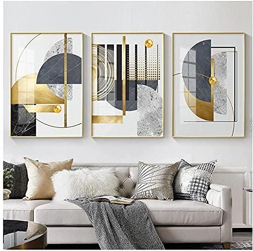 YANHUA Cuadro abstracto abstracto dorado para pared de salón, sin marco (20...