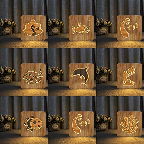 Squalo di pesce in legno Dolphin OWL Novità Lampada da notte a LED 3D Lampada da tavolo per bambini regalo di compleanno decorazione da comodino