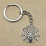HUIQING SchlüsselringSpider Spider Web Handgemachte Geburtstagsgeschenke 29X26Mm Anhänger Antik Silber