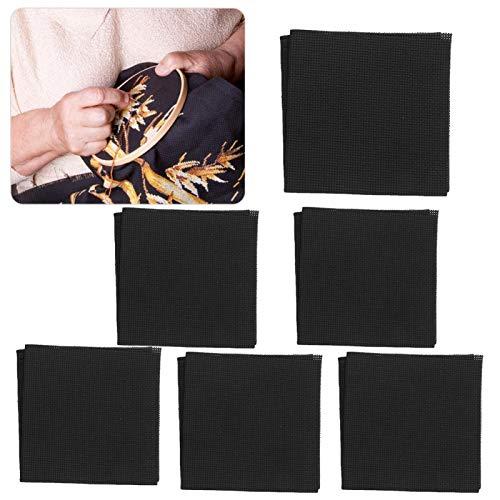 Fuerte Capacidad Antideslizante, 6 Piezas de Tela de Punto de Cruz, Tela para Tejer alfombras de Bricolaje para el hogar, Herramienta para alfombras de Bricolaje Negro(028 Models 6 Sheets)