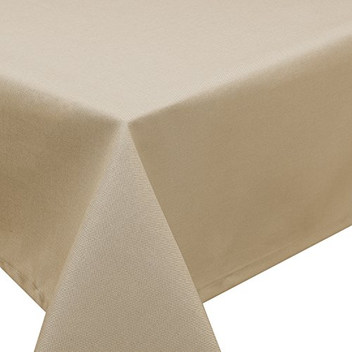 Tischdecke Fleckschutz Lotus Effekt Garten Leinenoptik abwaschbar in 27 Größen und 15 Farben in eckig, oval und rund Farbe: sand oval 130x220 cm