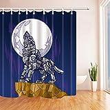 CDHBH Creative Animals Cortina de baño con diseño de lobo robot mecánico en la luna en el...