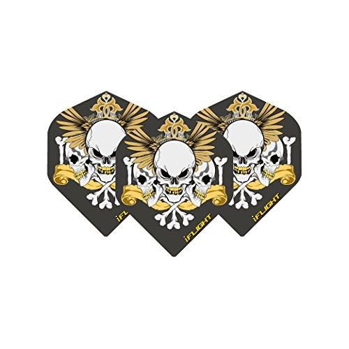 Black & Gold Skull Extra Thick Dart Flights - 4 sets pro pack (12 flights insgesamtl) & Red Dragon Checkout Card