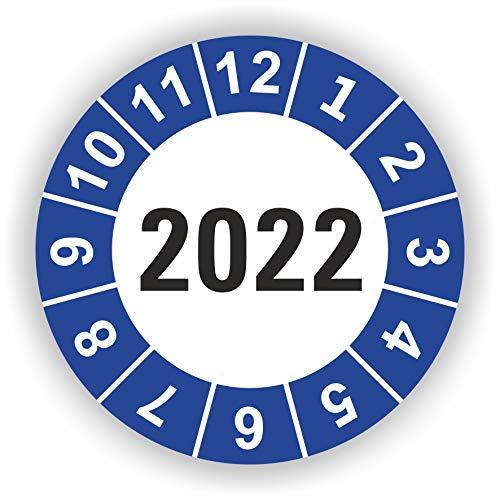 5-1.000 Stück Prüfplaketten Prüfetiketten Wartungsetiketten Jahresplakette 2022 Ø 20mm (Blau 5 Stück)