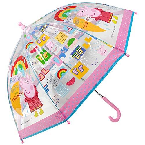 Paraguas Peppa Pig Paraguas Transparente Cúpula Infantil Paraguas Fibra de Vidrio Resistente Antiviento Paraguas Niña Niño 64cm