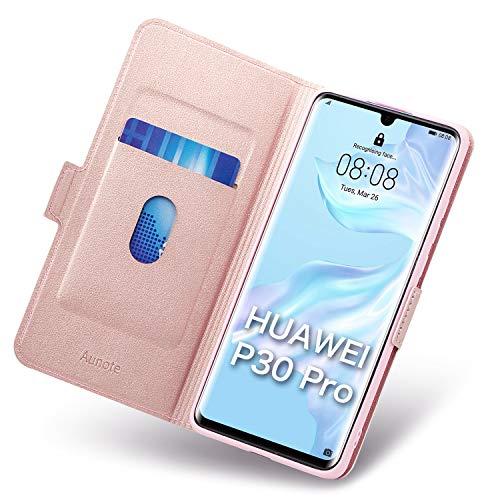 Aunote Handyhülle für Huawei P30 Pro Hülle/Huawei P30 Pro New Edition Hülle, P30 Pro Schutzhülle, P30 Pro Tasche, P30 Pro Klapphülle, Etui Flip Phone Cover Hülle, Hülle P30 Pro Klappbar. Rosegold