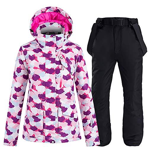 JW-YZWJ Frauen Skibekleidung, Wind- und wasserdichte Kapuze warme Outdoor-Sportbekleidung, Snowboard-Jacke und Hose, Winterberg Anzug,C,XL