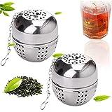 Ealicere 2 PCS Filtro per Il tè, Infusore a Sfera da tè in Acciaio Inox, con Catena, 4 cm