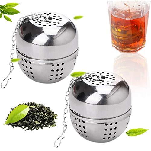 Ealicere 2 Stück Teefilter 4 cm Teeei Tee Sieb Teesieb für losen Tee und Mulling Gewürze,Teesieb die Edelstahl sehr feines Mesh Balls mit Kette