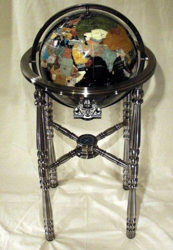 Unique Art 36-Inch by 13-Inch Floor Standing Black Onyx Ocean Gemstone World Globe with Silver 4-Leg Stand