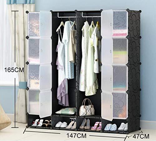 WFQGZ Kleiderschrank NEUES Budget einfache Garderobe DIY einzelne Garderobe Plastikkombination tragbare Schließfächer Kombinationsschließfächer E