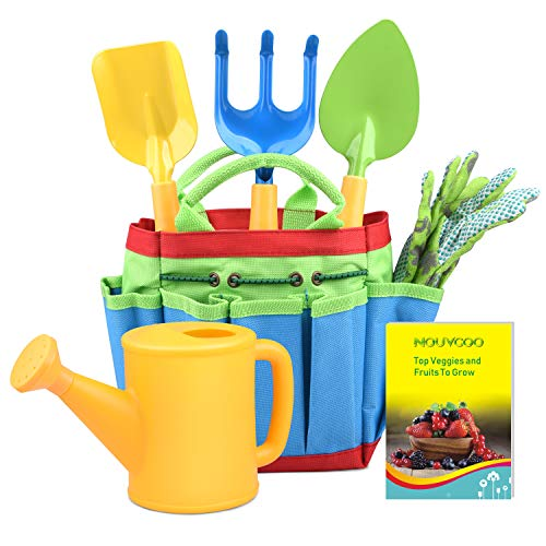 NOUVCOO Children's Gardening Set Gardening Tools Kids Gardening Toys Garden Play Game Kits with Gloves for Vegetable, Flowers, Lawn or Indoors (gold)