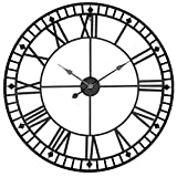 CTLDYR Orologio da Muro al Quarzo Muto Ferro Battuto Retro Decorazione Domestica Creativa 80 Cm Numero Romano Rotondo Orologio,Black80cm