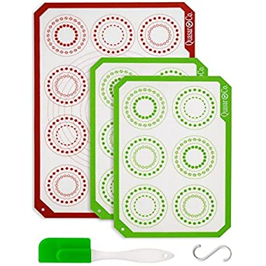 Silicone Baking Mat Set of 3 - Bundle | 1 Half Sheet & 2 Quarter Sheets | Reusable Baking Mats Silicone | Professional Non Stick Cookie & Macaron Liners | Baking Mat Non Stick | Q1&Q2 (White)