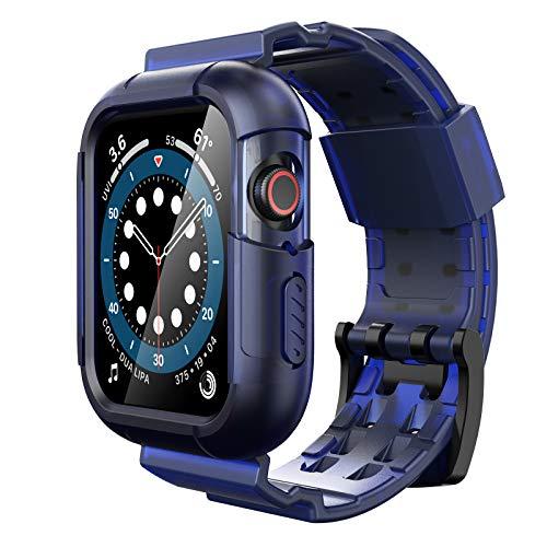 Simpeak Cinturino Compatibile per Apple Watch 42/44mm con Telaio, Silicone Cinturino Sostituzione con Telaio Compatibile con iWatch SE Series 6 5 4 3 2 1, Blu