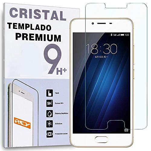 REY Protector de Pantalla para MEIZU M3S / M3 S/ M3 Mini 5', Cristal Vidrio Templado Premium
