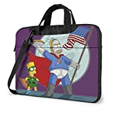 The Simpsons Laptop Bag Backpack Sleeve Case Cover for Women Men Portable Briefcase Tote Cases Double-Layer Large Capacity 15.6 Inch