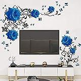 Pegatinas de pared de rosa azul, calcomanía de pared de vid de flor de rosa, decoración de pared floral de peonía azul, arte mural de vinilo Diy para dormitorio, sala de estar, sofá, telón de fondo