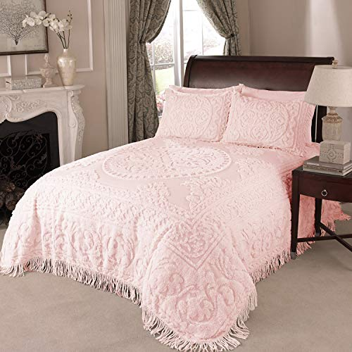 Beatrice Home Fashions Medallion Chenille Bedspread, Queen, Blush