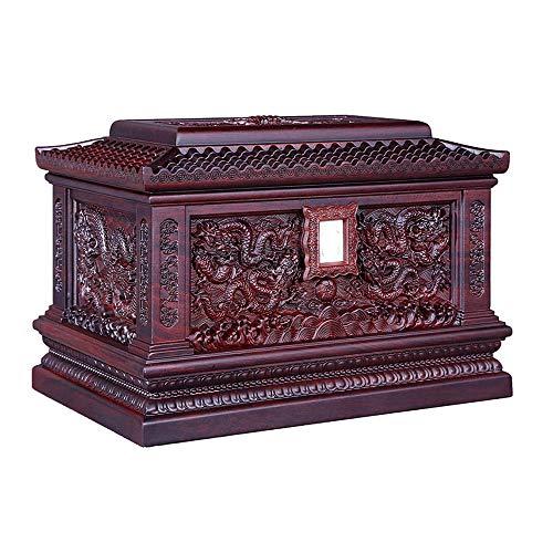 JLHBM-urna stort blad rosenträ nittio fem högsta gynnsamma drakmönster, aska altare fuktsäker låda minnessak begravning, urna för vuxna aska (33,5 x 22 x 22,5 cm) aska