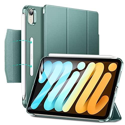 """ESR Funda Tríptica Compatible con iPad Mini 6 (8.3"""", 2021), Funda Translúcida, Soporte Tríptico con Cierre, Modo Automático Reposo/Actividad, Carga/Emparejamiento Pencil 2, Verde Oscuro"""