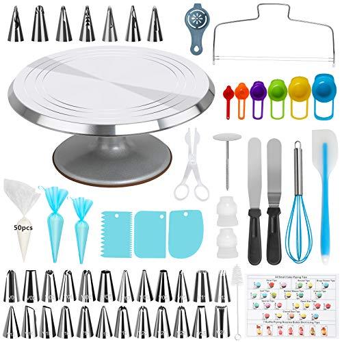 iMUTIMES Cake Decorating Kits 102Pcs Baking Tools with a Aluminium Revolving Cake Turntable for Beginners (102pcs)