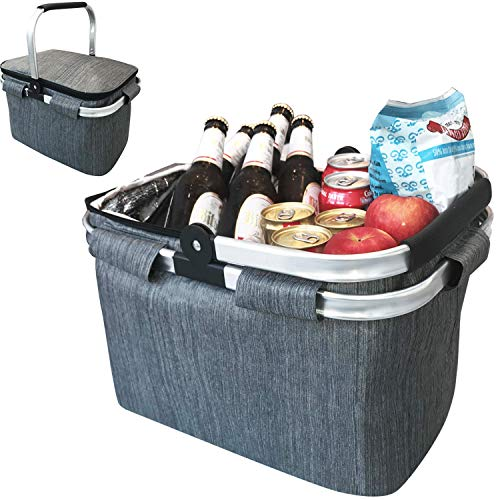 Large Insulated Picnic Basket Cooler | 7.7 Gal Capacity Leakproof Folding Collapsible Portable Market Basket Bag Set Aluminum Handles for Travel, Shopping and Camping | Keeps Wine, Food & Drinks Fresh
