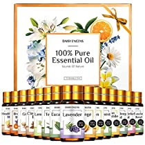 Essential Oils Sets, Top 15 (10 Oils & 5 Blends) Therapeutic Grade, 100% Pure Essential Oils Aromatherapy, Diffuser, Bath, Aromatherapy Blends Oils with 2 Dropper, Lavender, Tea Tree, Peppermint-5ml