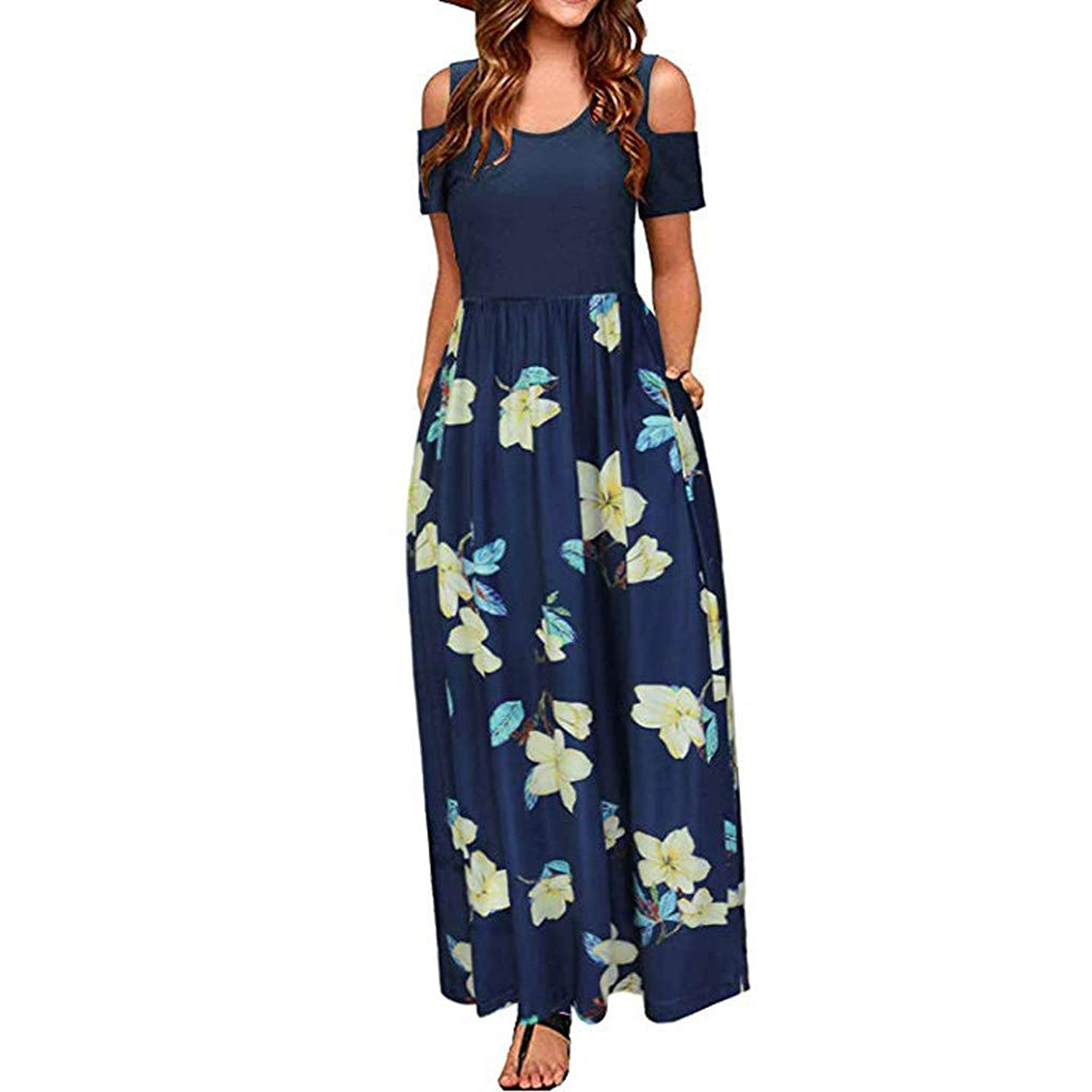 Women Cold Shoulder Maxi Dress | Ladies Short Sleeve Floral Print Elegant Long Dresses with Pocket