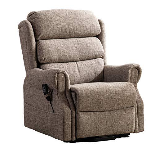 Salisbury Dual Motor Riser Recliner Arm Chair In Lisbon Mocha Fabric