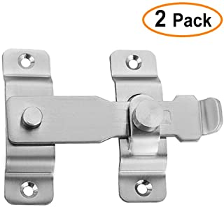 Audmore Flip Home Security Gate Latch,4 inch Heavy Duty Stainless Steel Door Latch to Keep You Safe and Private, Childproof Door Reinforcement Lock,Brushed Silver(2 Pack)