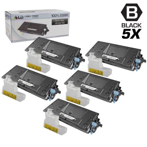 LD Compatible Toner Cartridge Replacement for Kyocera FS-2100DN TK-3102 (Black, 5-Pack)