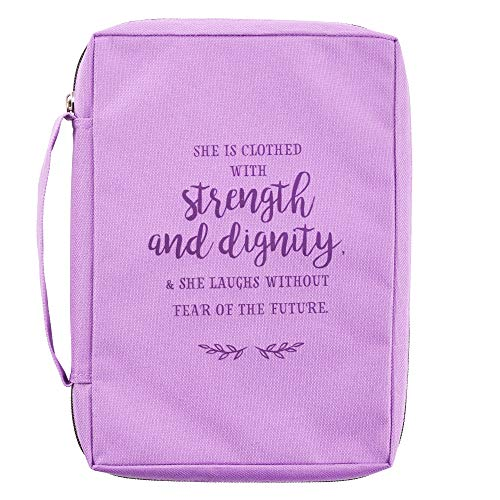 Strength and Dignity Proverbs 31:25 Purple Canvas Bible Cover, Book Cover Case for Women Medium Zippered Case for Bible or Book w/Handle
