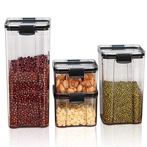 Xnuoyo Contenitori Ermetici per Alimenti, Lattine da Cucina, Contenitori per Cereali, Contenitori per Cucina E Dispensa, Plastica Scatole per Alimenti in Plastica con Coperchi-4pcs