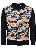 Jungen College Sweat Jacke Pullover Sweater Shirt Camouflage Hoodie 30170 Schwarz 128