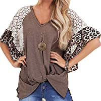 Nicellyer Women T-shirts Fashion Leopard Irregular Raglan Sleeve Lace Tops Brown 3XL