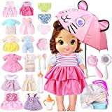 lausomile 25 Pack Alive Baby Doll Clothes Accessories Girl Gift 12 PCS Dress Fit 13 14 15 inch American Doll Clothes, Bitty Baby Doll with Underwear Diapers Umbrella Milk Bottle Backpack