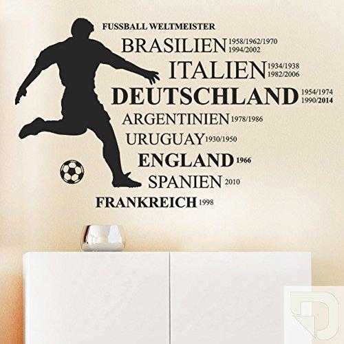 DESIGNSCAPE® Wandtattoo Fußball Weltmeister Brasilien, Italien, Deutschland, Argentinien, Uruguay, England, Spanien, Frankreich 160 x 96 cm (Breite x Höhe) creme DW807123-L-F102