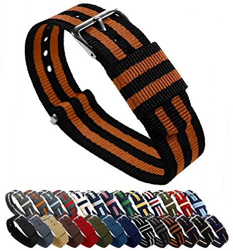 20mm Black/Burnt Orange Standard Length - BARTON Watch Bands - Ballistic Nylon NATO Style Straps