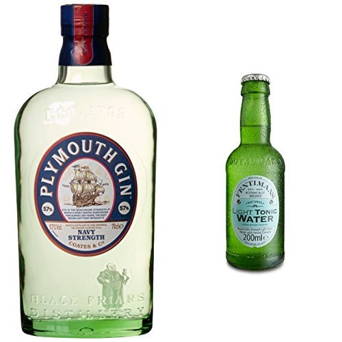 Plymouth Gin Navy Strength Gin (1 x 0.7 l) mit Fentimans Light Tonic Water (12 x 200 ml)