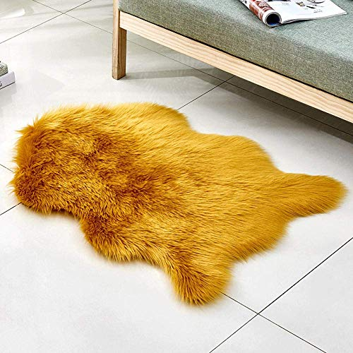 Alfombras de área mullidas Alfombra de Yoga Antideslizante para alfombras de Sala de Estar Dormitorio, Camello Amarillo con Forma de 90x150 cm