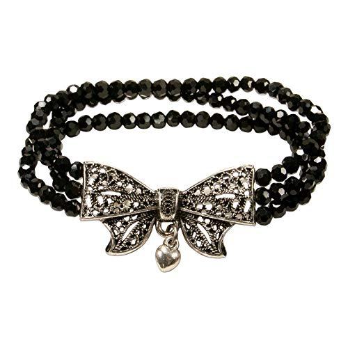 Alpenflüstern Perlen-Trachten-Armband Schleife - elastische mehrreihige Trachten-Armkette mit Schleifen-Mittelteil, eleganter Damen-Trachtenschmuck, Perlenarmband schwarz DAB062