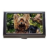 Soporte para tarjetas de visita, perro Yorkshire Terrier perro pequeño, estuche para tarjetas de visita de acero inoxidable