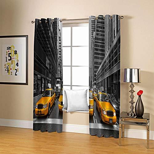 LOVEXOO Salon Rideaux Salon Rue de New York 67.5x240cm Rideau Voilage Occultant Thermiques Opaque Moderne Lot de 2 décorative Chambre d'enfants
