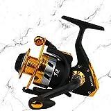 Fashionwu 5,5: 1 12BB Molinete Carpa Carrete de pesca Relación de traducción Big Game Spinning Carrete de pesca, EK1000 negro dorado